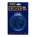 Satco 93-179 - 12 Foot Coiled Extension Cord - 13A - 125V - 1625W - Supplied With Safety Cover - Blue Finish
