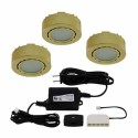 Liteline UCP-LED3-4K-PB - 12V - 2W - 4000K - 3 LED Puck Lights - Surface or Recessed Mounted - Polished Brass