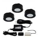 12V LED 3-Puck Light Kit - 1.8W per Puck - Warm White - Surface Mounted or Recessed - Black Finish - Liteline UCP-LED3-BK