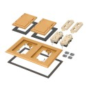 Arlington FLBC8520CA - Two Gang Plastic Cover Frame Kits - Includes (2) flip lid covers with gaskets, (2) 20A decorator-style receptacles, (2) gaskets, (2) low voltage inserts, installation screws - Caramel