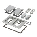 Arlington FLBC8520GY - Two Gang Plastic Cover Frame Kits - Includes (2) flip lid covers with gaskets, (2) 20A decorator-style receptacles, (2) gaskets, (2) low voltage inserts, installation screws - Gray