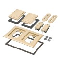 Arlington FLBC8520LA - Two Gang Plastic Cover Frame Kits - Includes (2) flip lid covers with gaskets, (2) 20A decorator-style receptacles, (2) gaskets, (2) low voltage inserts, installation screws - Light Almond