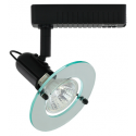 Liteline VS1040-BK - Venus Black Track Fixture with Clear Acrylic Ring - 12V Low Voltage - MR16 Lamp 50W Max.