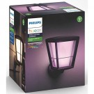 Philips Hue 1743930V7- White & Color Ambiance Econic Wall Up Lantern - Outdoor Fixture - Black Finish - 100-240Vac