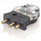 Leviton 20MC-CL - Stage Pin - Stage Pin Male Plug Crimp Terminals - 20 Amp - 125 Volt - BLACK w/ CLEAR COVER