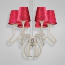Eurofase 23062 - Prima - 6 LIGHT CHANDELIER- Chrome/Copper - Red - E12 Bulb - 120V