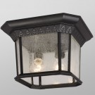 Galaxy Lighting 320379BK - 2 Light Outdoor Flush Mount Ceiling Lantern - Black Finish - A19 - Medium Base - 60 Watt
