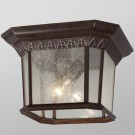 Galaxy Lighting 320379BZ - 2 Light Outdoor Flush Mount Ceiling Lantern - Bronze Finish - A19 - Medium Base - 60 Watt
