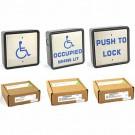 "340017 - Larco Illuminated Washroom Push Plate Switch Kit - 3 Boxes Combined - Illuminated ""PUSH TO LOCK"" & ""OCCUPIED WHEN LIT"" plus Non-Illuminated ""Handicap"" with Universal Mount Boxes"