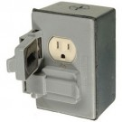VISTA 41226- Weatherproof Metal Duplex Outlet Kit - Grey