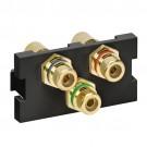 Leviton 41292-3DE - RCA Component Feedthrough MOS Connector - Black