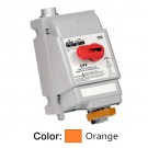 Leviton 420MF12W - Mechanical Interlock North American Pin & Sleeve Receptacle - 20 Amp - 125/250 Volt - 3P - 4W - Fused - ORANGE