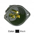 Leviton 5239 - Flanged Inlet Receptacle - 15 Amp - 125 Volt - NEMA 5-15P - 2P - 3W - Straight Blade - Commercial Grade - Grounding - Back Wired - Black
