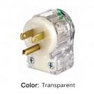 Leviton 8215-CAT - 15 Amp - 125 Volt - NEMA 5-15P - 2P - 3W - Angle Plug - Straight Blade - Hospital Grade - Grounding - Transparent