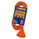 Satco 93-5053 - Heavy Duty 3 Outlet - Outdoor Extension Cord - 13A - 125V - 25Ft. - Orange - 12 Packs