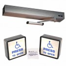 """Wireless Automatic Door Operator Package for Entrance Door - Includes Ditec HA8-SP 39"""" Header Clear Finish and Larco P4S1 Wireless Push Button Wall Switch Package"""