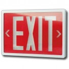 Tritium Exit Sign - Wet / Cold / Hazardous Location - Self-Luminous - 10 Year Average Life - Plastic Housing - Single Face - Red Stencil Color - White Frame - Wall Mount - Beghelli TSLPL10Y1RW-W