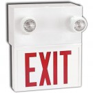 LED Combination Exit Sign - Steel - Adjustable Lamp Head - Red Letters - 30 Min. Run Time - 120/277/347V with Battery Backup - Universal Mounting - Beghelli SLE636LRU/2SR9W