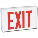 LED Exit Sign - Steel Body - Red Letters - 120/347 Volt with Internal Battery Backup  - Universal Face Plate - Universal Mounting - Stanpro SLEXSC0WH/IB