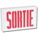 LED Sortie Sign - Steel Body - Red Letters - 120/347 Volt with Battery Backup  - Universal Face Plate - Universal Mounting - Stanpro SLSRSC0WH/IB