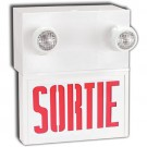 LED Combination Sortie Sign - Steel - Adjustable Lamp Head - Red Letters - 30 Min. Run Time - 120/277/347V with Battery Backup - Universal Mounting - Beghelli SLS636LRU/2SR9W