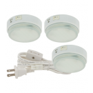 3 x 9W Compact Fluorescent Puck Light Kit - 3000K Warm White - 120V - Surface Mounted only - Liteline CL-3CF9-WH