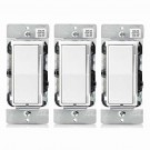 (3 PACK) Leviton DSL06-1LZ 300-watt LED Decora Rocker Slide Universal Dimmer and CFL/600-watt Incandescent for Single Pole or 3-Way, White, Ivory & Light Almond Color Change Kit Included