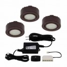 Liteline UCP-LED3-BRN - 12V - 2W - 3000K - 3 LED Puck Lights - Surface or Recessed Mounted - Brown