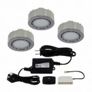 Liteline UCP-LED3-4K-CH - 12V - 2W - 4000K - 3 LED Puck Lights - Surface or Recessed Mounted - Chrome