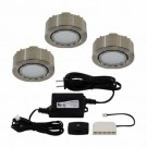 Liteline UCP-LED3-4K-MN - 12V - 2W - 4000K - 3 LED Puck Lights - Surface or Recessed Mounted - Matte Nickel