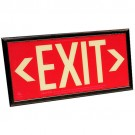Photoluminescent Exit Sign - Red Background - 20 Year Effective Life - Includes Mounting Bracket and Black Frame - Fulham FLPL50SRB