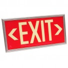Photoluminescent Exit Sign - Red Background - 20 Year Effective Life - Includes Mounting Bracket and Silver Frame - Fulham FLPL50SRS