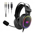 Havit Wired Gaming Headset with HD Mic for PS4 Xbox One PC RGB Game Headphones with Stereo Surround Sound, Volume Control, Soft Earmuffs, LED Light for Computer Laptop