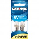 Rayovac K13-2T - 4.8 Volt - 0.75 Amp - 3.6 Watt - Flanged Base - For use in 4D Size Flashlights and 6-volt Lanterns - 2 Bulbs per Pack