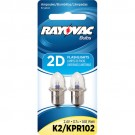 Rayovac K2-2TA - 1.68 Watt - 2.4 Volt - 0.7 Amp - Flanged Base - Krypton Bulb for use in 2D Size Flashlights - 2 Bulbs per Pack