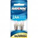 Rayovac K4-2TA - 1.03 Watt - 2.2 Volt - 0.47 Amp - Flanged Base - Krypton Bulb for use in 2AA Size Flashlights - 2 Bulbs per Pack