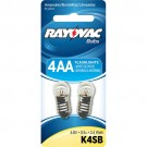 Rayovac K4SB-2TA - 2.4 Watt - 4.8 Volt - 0.5 Amp - Flanged Base - Krypton Bulb for use in 4AA Size or 1D Size Flashlights - 2 Bulbs per Pack