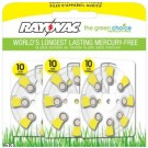 Rayovac L10ZA-24ZM - Zinc Air Battery - 1.4 Volt - For Hearing Aids - 10 Size - 24 Pack - Sold by Pack Only