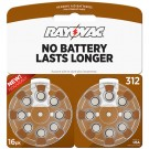Rayovac L312ZA-16ZM - Zinc Air Battery - 1.4 Volt - For Hearing Aids - 312 Size - 16 Pack - Sold by Pack Only
