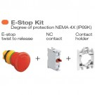Lovato LPCB6644 KIT - Red Color Emergency Stop Push Button Kit - NEMA 4X (IP69K) - Twist to Release Mushroom Head Actuator, NC Contact Element and Contact Holder Included