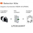 Lovato LPCS120KIT - 2 Position Selector Switch Kit - NEMA 4X (IP69K) - 2 Position Selector Switch, NO Contact and Contact Holder Included