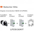 Lovato LPCS130KIT - 3 Position Selector Switch Kit - NEMA 4X (IP69K) - 3 Position Selector Switch, NO Contact and Contact Holder Included