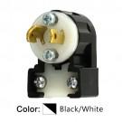 Leviton ML1-AP - 15A - 125V - NEMA ML1P - 2P - 2W - Locking Plug - Industrial Grade - Non-Grounding - MiniLock Angle - Black-White