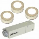 Luminiz PK103--3CTNK-PKG - 12VAC 3.5W 220Lumen 3000K-4000K-5000K - Field Selectable DIP Switch - 3 LED Puck Lights with Driver - Surface or Recessed Mounted - Brushed Nickel Trim