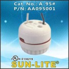 "Sun-Lite A-95 E26 Unglazed Porcelain Socket with 12"" Black and White Leads"