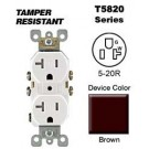 Leviton T5820 20 Amp, 125 Volt, Tamper Resistant, Duplex Receptacle, Straight Blade, Residential Grade, Self Grounding, Brown
