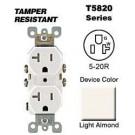 Leviton T5820-T 20 Amp, 125 Volt, Tamper Resistant, Duplex Receptacle, Straight Blade, Residential Grade, Self Grounding, Light Almond