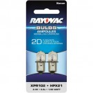 Rayovac XPR102-2TA - 1.92 Watt - 2.4 Volt - 0.8 Amp - Flanged Base - Xenon Bulb for use in 2D Size Flashlights - 2 Bulbs per Pack